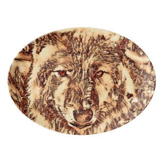 TierArtsStudio- fantastischer Wolf Porzellan Servierplatte