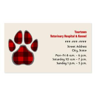 Tierarzt-u. Hundehütten-Geschäfts-Karte - karierte Visitenkartenvorlage