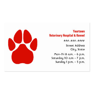 Tierarzt-u. Hundehütten-Visitenkarte - rote Tatze