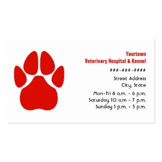 Tierarzt-u. Hundehütten-Visitenkarte - rote Tatze Visitenkarten