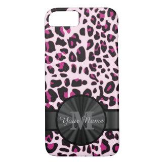 Tierdruck des hübschen Leoparden monogramed iPhone 7 Hülle