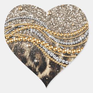 Tierdruck des schönen modischen girly Leoparden Herz-Aufkleber