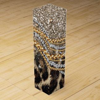 Tierdruck des schönen trendy Leopard-Imitats Wein-Geschenkverpackung