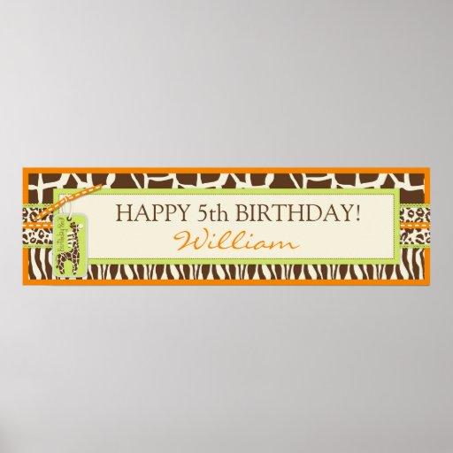 Tierdruck-Safari-u. Giraffen-Geburtstags-Fahne Plakatdrucke