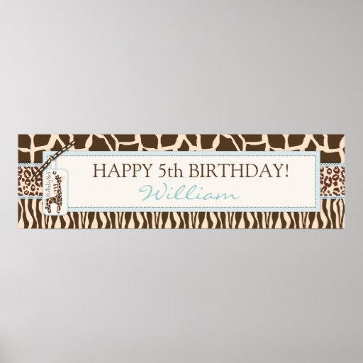 Tierdruck-Safari-u. Giraffen-Geburtstags-Fahne Poster