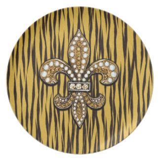 Tierdruck Tiger Fleur Di Lis Jewel Flacher Teller