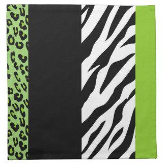 Tierdruck, Zebra, gepunkteter Leopard - Grün Serviette