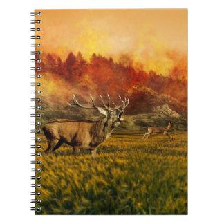 Tiere, die weg von Feuer-Illustration laufen Notizblock