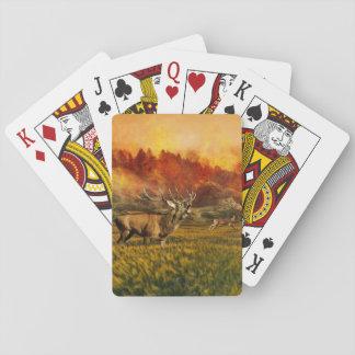 Tiere, die weg von Feuer-Illustration laufen Spielkarten