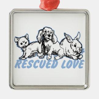 Tiere retteten Liebe Quadratisches Silberfarbenes Ornament