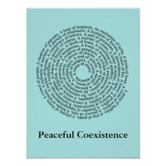 Tiergruppen-Namen/friedliches Koexistenz-Plakat Poster