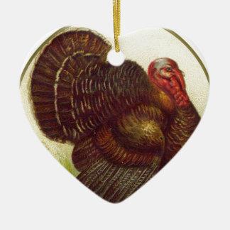 Tierischer Vintager Erntedank der Vogel-Türkei Keramik Herz-Ornament