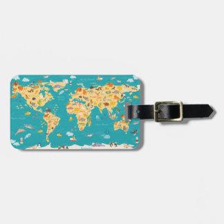 Tierkarte der Welt für Kinder Gepäckanhänger