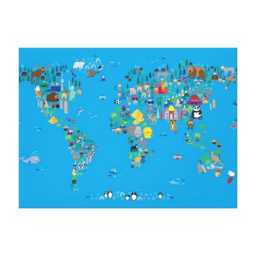 Tierkarte der Welt für Kinder und Kinder Leinwanddruck