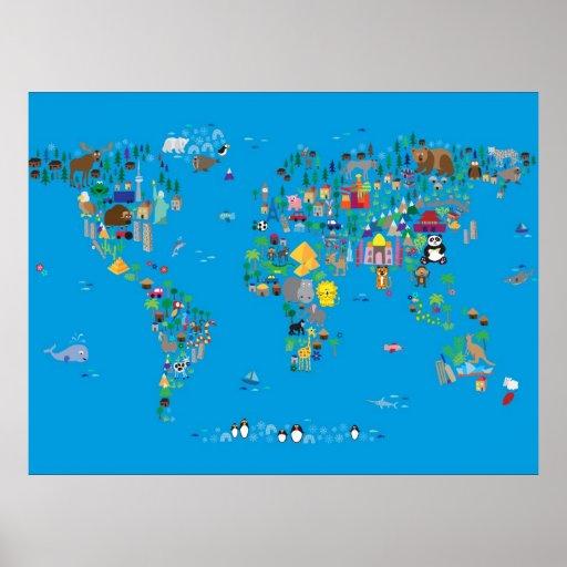 Tierkarte der Welt für Kinder und Kinder Plakat