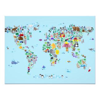 Tierkarte der Welt Photo Drucke