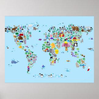 Tierkarte der Welt Poster