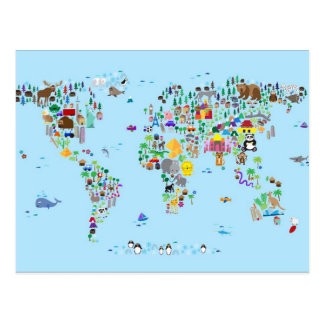 Tierkarte der Welt Postkarte