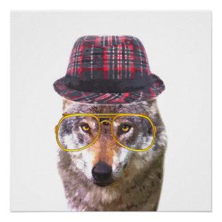 TierKinderzimmer des niedlichen und lustigen Wolfs Poster