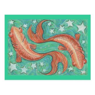 Tierkreis-Fisch-Postkarte Postkarten
