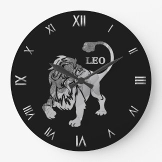 Tierkreis-Symbol-Wanduhr Löwen silberne Große Wanduhr