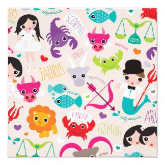 Tierkreis unterzeichnet Kinderpostkarte Quadratische 13,3 Cm Einladungskarte