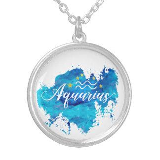 Tierkreis-Wassermann-blaue Aquarell-Goldsterne Versilberte Kette