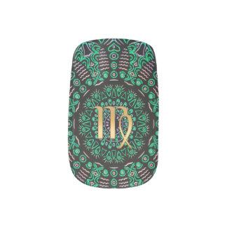 Tierkreis-Zeichen-Jungfrau-Grün-Mandala Minx Nagelkunst