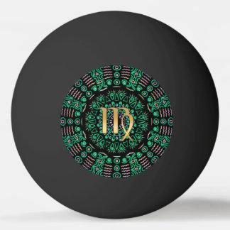 Tierkreis-Zeichen-Jungfrau-Grün-Mandala Tischtennis Ball