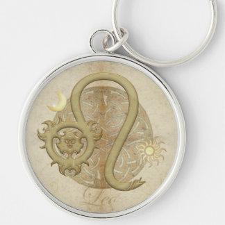 Tierkreis-Zeichen-Löwe-Prämie Keychains Silberfarbener Runder Schlüsselanhänger