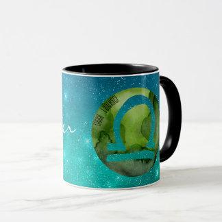 Tierkreis-Zeichen-Waage auf aquamarinem Starry Tasse