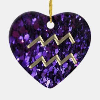 Tierkreis-Zeichen-Wassermann auf lila Keramik Ornament