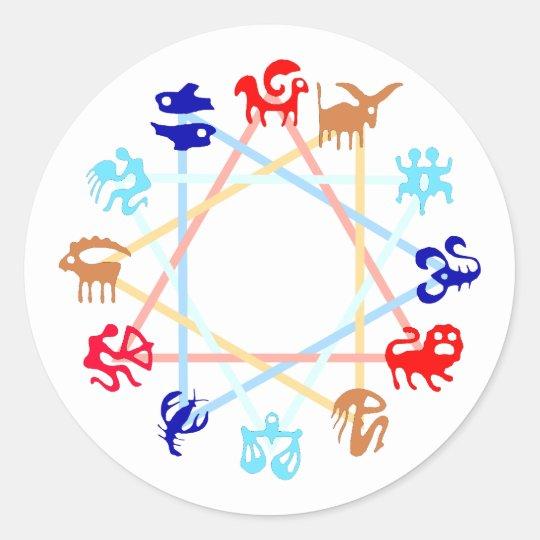 Tierkreiszeichen zodiac runder aufkleber