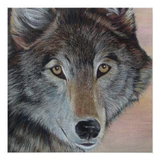 Tiermalerei-Realist-Porträtkunst des grauen Wolfs Poster