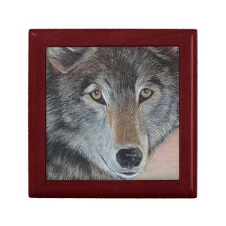 Tiermalerei-Realist-Porträtkunst des grauen Wolfs Schmuckschachtel