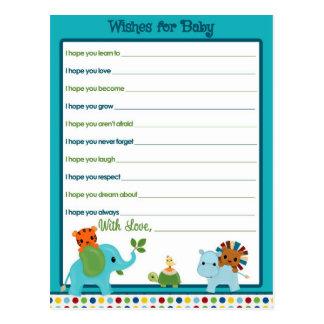 Tierparade-Wünsche für Baby-Ratekarten Postkarte