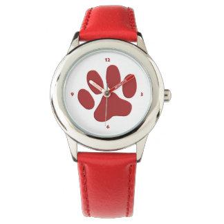 Tierpfote und Herzen - rot Handuhr