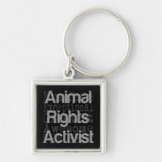 Tierrecht-Aktivist Extraordinaire Silberfarbener Quadratischer Schlüsselanhänger
