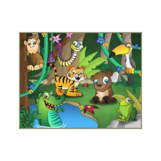 Tierreich-Dschungel Gespannte Galeriedrucke