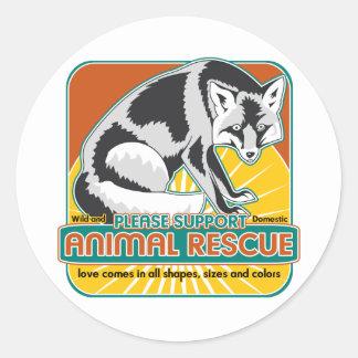 TierrettungFox Runder Sticker
