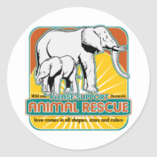 Tierrettungs-Elefanten Runder Aufkleber