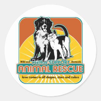 Tierrettungs-Hund und Katze Runde Sticker