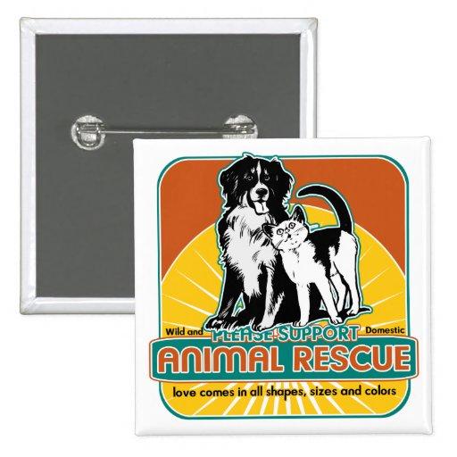 Tierrettungs-Hund und Katze Anstecknadelbutton