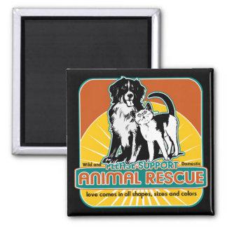 Tierrettungs-Hund und Katze Quadratischer Magnet
