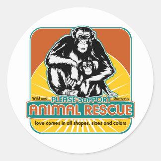 Tierrettungs-Schimpanse Runde Sticker
