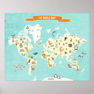 Tierweltplakat Weltkarte-Wandabziehbild Kinder Poster