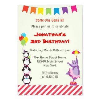 Tierzirkus-Kindergeburtstags-Party Einladung