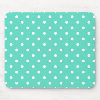 Tiffany-Aqua-Blau mit weißen Tupfen Mousepad