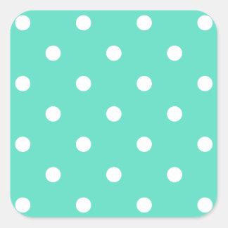 Tiffany-Aqua-Blau mit weißen Tupfen Quadratischer Aufkleber