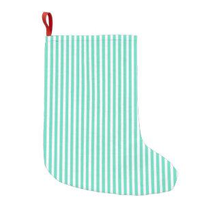 Tiffany-Aqua-blaue Seemann-Streifen Kleiner Weihnachtsstrumpf